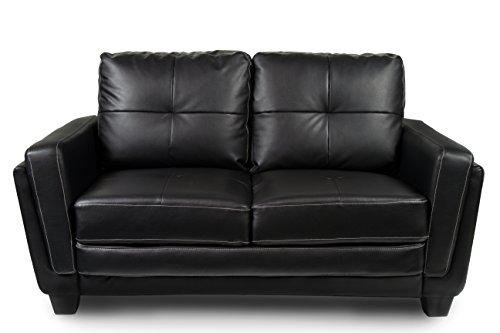 Furniture of America Mitcham Leatherette Love Seat, Black