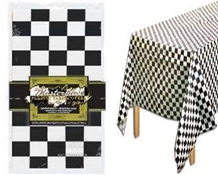 Checkered Race Plastic Table Cover