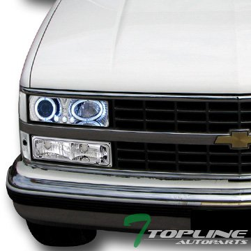 Topline Autopart Chrome Led Halo Projector Headlight+Signal+Parking Corner For 88-93 Chevy/Gmc C10 Ck ()