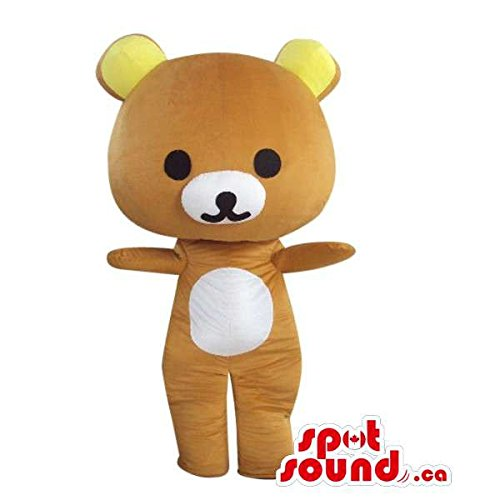 Cartoon Brown Teddy Bear Plush Mascot SpotSound US With Yellow Ears