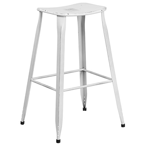 Flash Furniture 29.75 High Distressed White Metal Indoor-Outdoor Saddle Comfort Barstool