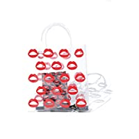 Vanity's lips clear tote bag with red lips detailed on front & back. Durable transparent pvc material