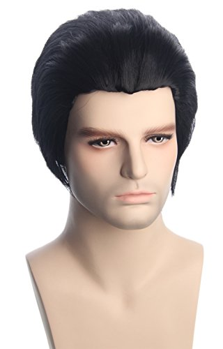 Topcosplay Mens Wigs Black Short Cosplay Halloween Costume Party Wigs Slicked-back ()