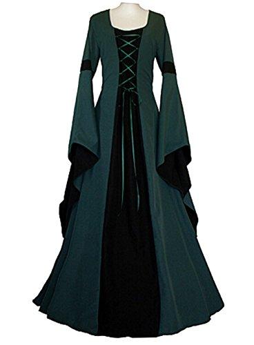 Sinastar Halloween Cosplay Women Western Medieval Square-cut Collar Long Trumpet sleeved Sexy (Girl Medieval Costume Pattern)