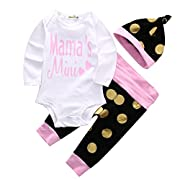 Canis Baby Girls Mama's Mini 4pcs Romper and Pants Outfit Set with Hat+Headband (70(3-6M),Pink)