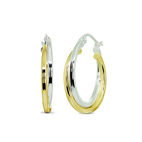 Gold Double Twist Hoop - LOVVE Sterling Silver Two-Tone Double Layer Polished Round Click-Top 3/4