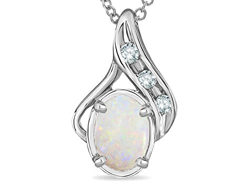 - Star K Oval 7x5mm Genuine Opal Pendant Necklace 10 kt White Gold