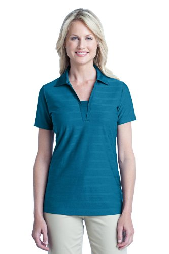 Port Authority Ladies Horizontal Texture Polo. L514 Peacock Blue L