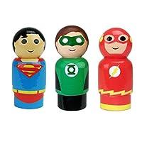 "Bif Bang Pow! DC Comics Justice League Superman, The Flash, Green Lantern Pin Mate Wooden Figure Set of 3 Collectible, 2"""