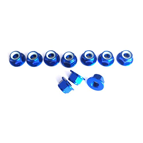 Nut Flanged Aluminum Lock (10 PCS M5 Nut CCW Rotation Aluminum Flanged Nylon Lock Nut for FPV Quadcopter Multicopter RC Drone (Dark blue))