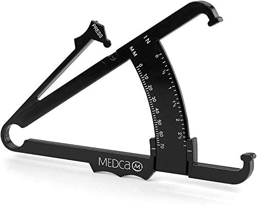 Skinfold Body Fat Caliper - Skin Fold Body Fat Analyzer and Handheld BMI Measurement Tool Skinfold Caliper Device Measures Body Fat for Men and Women by MEDca - (Pack of 2, Black) 4