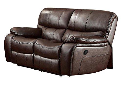 Homelegance Pecos Leather Gel Manual Double Reclining Loveseat, Dark Brown (Loveseat Recliner Brown Leather)