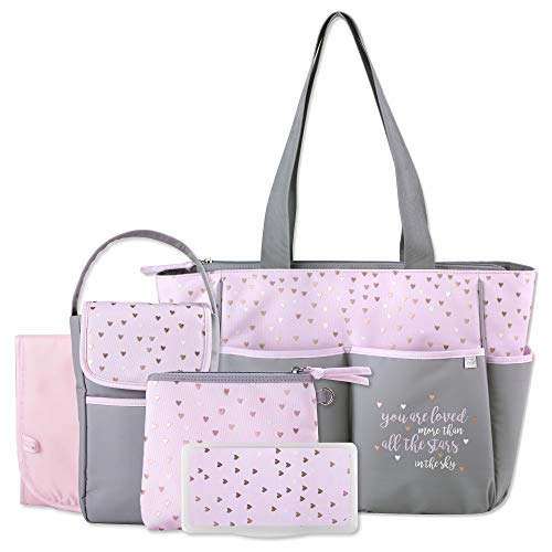 Diaper Bag Tote 5 Piece Set with Sun, Moon, and Stars, Wipes Pocket, Dirty Diaper Pouch, Changing Pad ()