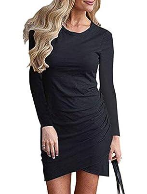 Halife Womens Long Sleeve Sheath Dress Solid Color Irregular Hem T Shirt Bodycon Mini Dress