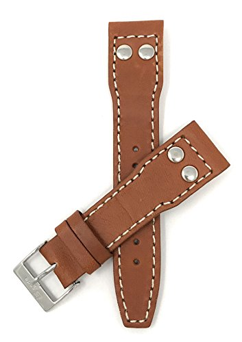 Bandini 20mm Mens Italian Leather Watch Band Strap - Tan - 2 Rivets for IWC Pilot