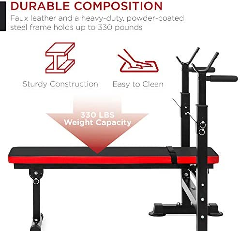 Best Choice Products Adjustable Folding Fitness Barbell Rack & Weight Bench Set for Home Gym, Strength Training w/Incline & Decline Capability, Padded Faux Leather, Easy Storage - Black/Red 2