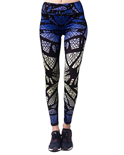 Selighting Women's Yoga Pants Printed Gym Workout Running Capris Leggings (Spider Web, Medium)