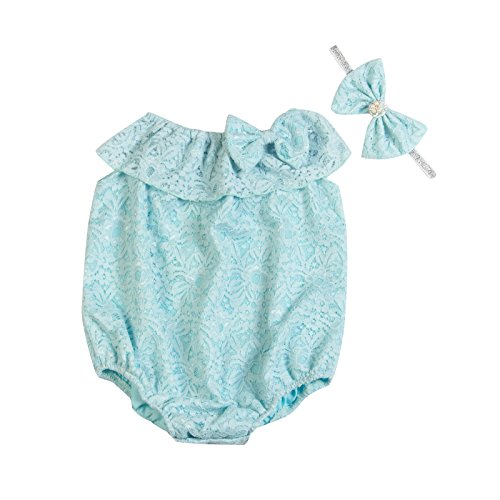 Unique Baby Girls Seaside Bella Romper & Headband Set (Baby Blue, 0-6 mo/XS)