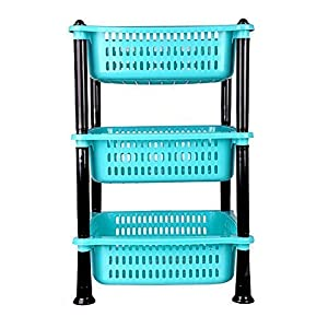 JAYVIRU Rack Premium Plastic 3 Steps Kitchen Rack Basket for Office Use, Fruits Onion, Potato, Vegetables and Sabaji Basket Tray for Household (Round 3 Tier Rack, Color May Vary)