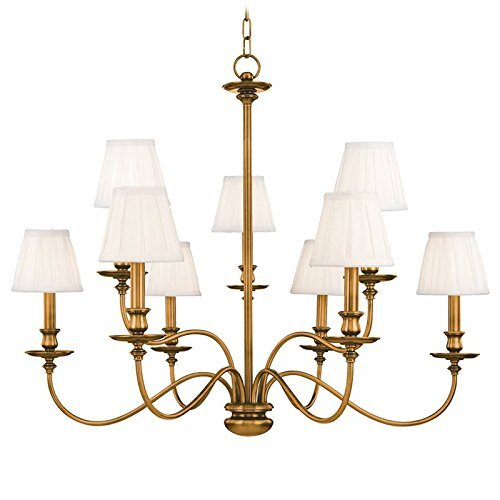 Silk Chandelier Brass (Hudson Valley Lighting Menlo Park 9-Light Chandelier - Aged Brass Finish with Off White Faux Silk Shade by Hudson Valley Lighting)