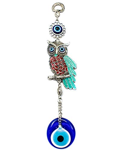 EA Gift Global Blue Evil Eye Bead (Nazar) with Owl Quality Amulet Wall Hanging Decoration Ornament - Home Blessing Good Luck and Protection Charm (Alternative 01)