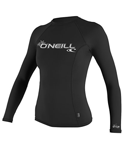 Oneill Women Wetsuits (O'Neill Wetsuits UV Sun Protection Womens Basic Skins Long Sleeve Crew Sun Shirt Rash Guard, Black, Large)