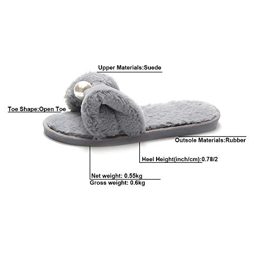 Bowknot House KJJDE Anti Cotton Gray LJXY Indoor Slipper Prime 08041 Slip Women's Toe Open Heel Home Flat q1vEfq