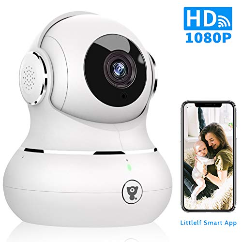 WiFi Home Security Camera - Littlelf Smart 1080P Indoor Wireless Pet Camera for Baby Monitor with Motion Tracking, 2-Way Audio, Night Vision, Cloud Service (Best Remote Camera App Android)