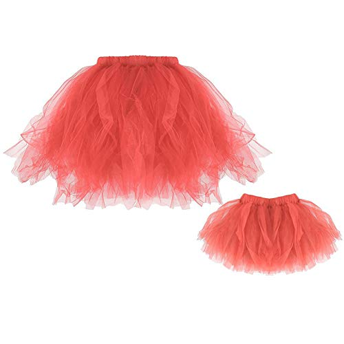 Mother & Daughter Short Vintage Ballet Tutu Skirt Matching Princess Ballerina Dress up Fairy Costume Dance Watermelon Red -