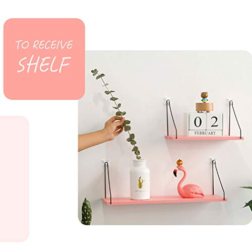 HUIFANG-SHELF American Series 3 Ledges, Stylish Design Wood, Veneer, White Painted Edges, Easy to Install (Color : Pink)
