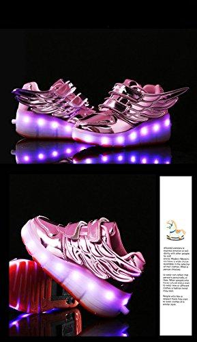 Chic Sources Jungen Mädchen wiederaufladbare leuchten Roller Schuhe auf Rädern LED Skate Sneakers Rosa