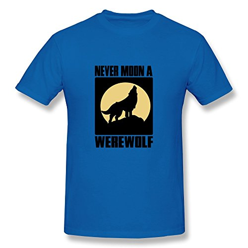 [Men Never Moon A Werewolf Tee Shirt,RoyalBlue T-shirts By HGiorgis S RoyalBlue] (Trevor Halloween Costume)