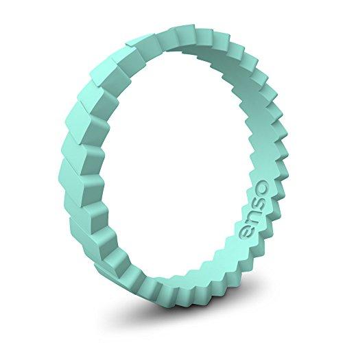 Enso Slanted Brick Silicone Ring Turquoise Size:11