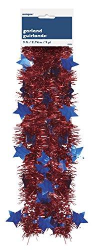 9ft Patriotic Tinsel Garland - Patriotic Tinsel Garland