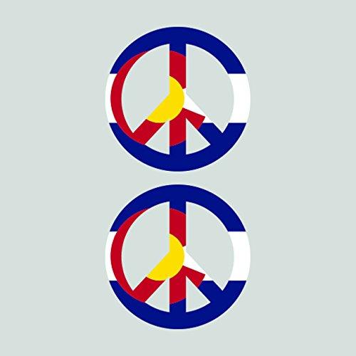 Two Pack Colorado Flag Peace Symbol Sticker Self Adhesive Vinyl Decal FA Graphix CO sign no war fagraphix 3531CFBFA-2-FA78309