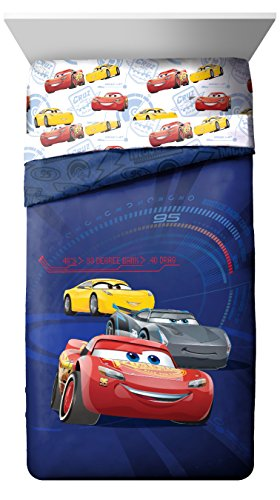 Disney/Pixar Cars 3 Movie High Tech Blue Twin Reversible Comforter with Lightning McQueen, Jackson Storm & Cruz Ramirez (Offical Disney/Pixar Product)