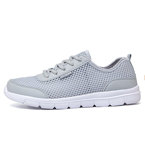 ECOLAQ& New Men Sneakers Shoes Breathable Casual Shoes Comfortable Lace Up Unisex Sneakers Shoes Plus Size 35-48 WW-393 Gray 11 (Best Numbers For Lotto Max)