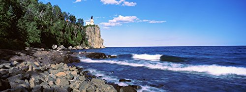 Posterazzi Poster Print Collection Cliff Split Rock Lighthouse Lake Superior Minnesota USA Panoramic Images, (15 x 6), ()