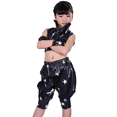 LOLANTA Girls Modern Sleeveless Jazz Dance Costume Star Print Hip Hop Outfit (Black, 14-16) by LOLANTA