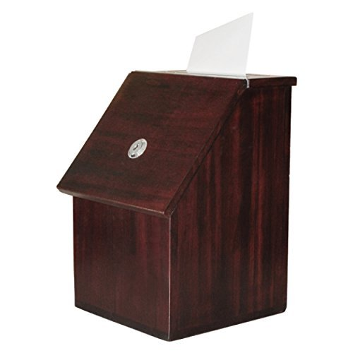 MCB - Wood Suggestion Box - Donation Box - Ballot Box - Locking with 2 Keys - for Wall or Counter Top (Furniture Brown) by My Charity Boxes