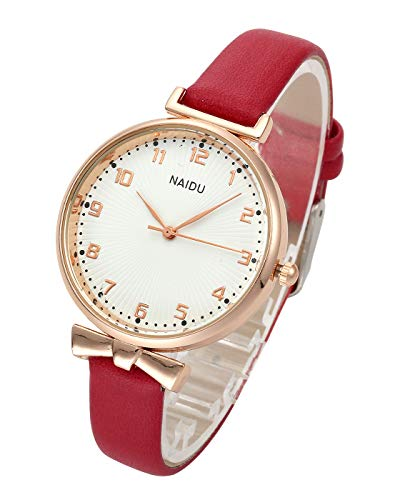Top Plaza Womens Ladies Classic Simple Leather Analog Quartz Wrist Watch Rose Gold Case Arabic Numerals Casual Dress Watches(Red)