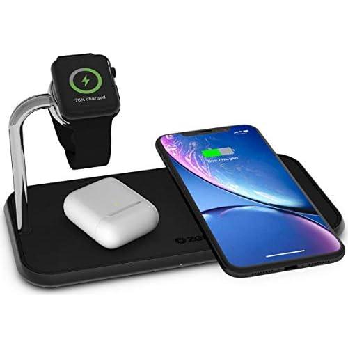 chollos oferta descuentos barato ZENS Qi y MFi certificado cargador inalámbrico triple de aluminio para dos dispositivos Apple Watch Fast Charging para Apple iPhone SE 2020 11 11 Pro 11 Pro Max Xs Xs Max Xr X 8 8 Plus