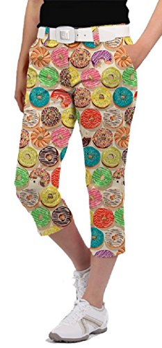 Loudmouth Golf Womens Capris - Doughnuts - Size 10 by Loudmouth Golf