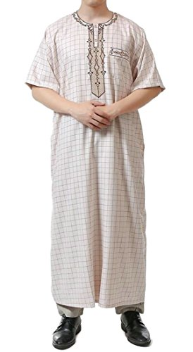 Jotebriyo Mens Short Sleeve Cotton Linen Plaid Saudi Arab Thobe Islamic Muslim Dubai Robe Beige XL by Jotebriyo