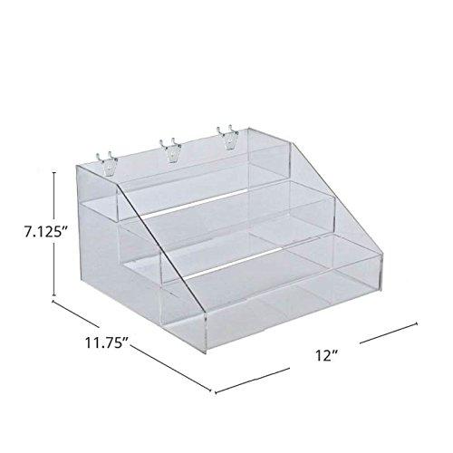 Clear Three-Tier Counter/Pegboard/Slatwall Step Display 12''W x 11.75''D x 7.125''H