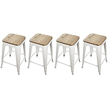 Amazon Com Gia Cream White 24 Quot Metal Stool With Wooden