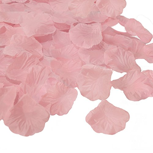JUYO VONSAN Rose Petals1000pcs flower petals Artificial Wedding Flowers Favors for your special wedding with gift box (Light Pink)