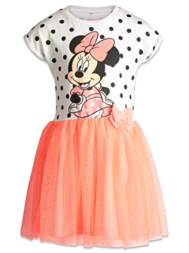 Disney Toddler Girls' Minnie Mouse Tulle Polka Dot Dress, White/Coral (2T)
