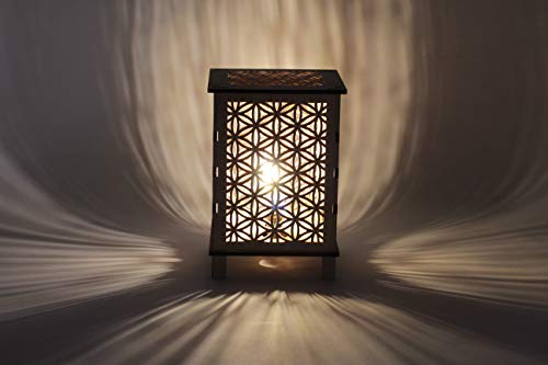 Flower of Life Lantern Lamp, Decorative LED Projected Shadow Patterns, Night Light, Meditative Gentle Glow, Sacred Space, Room Ambiance, Wooden Art Decor, Made in USA Items, Fourth Level Mfg. Designs