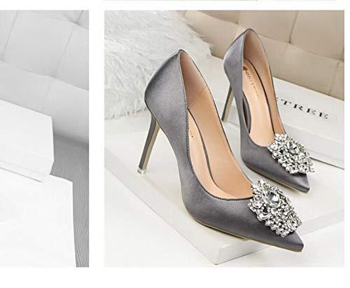 Sexy Pumpt Dünne Frauen Absatzhöhe Elegant Strass Frauen LIANGHUA Heels Schuhe Einzelne Frühling Satin Schuhe Schuhe High 10Cm Herbst Spitze Seide BnZxqApwa